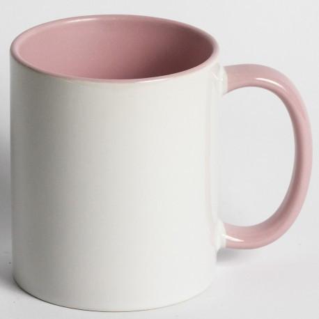 Кружка для сублимации цветная внутри и ручка 330 мл (розовый)