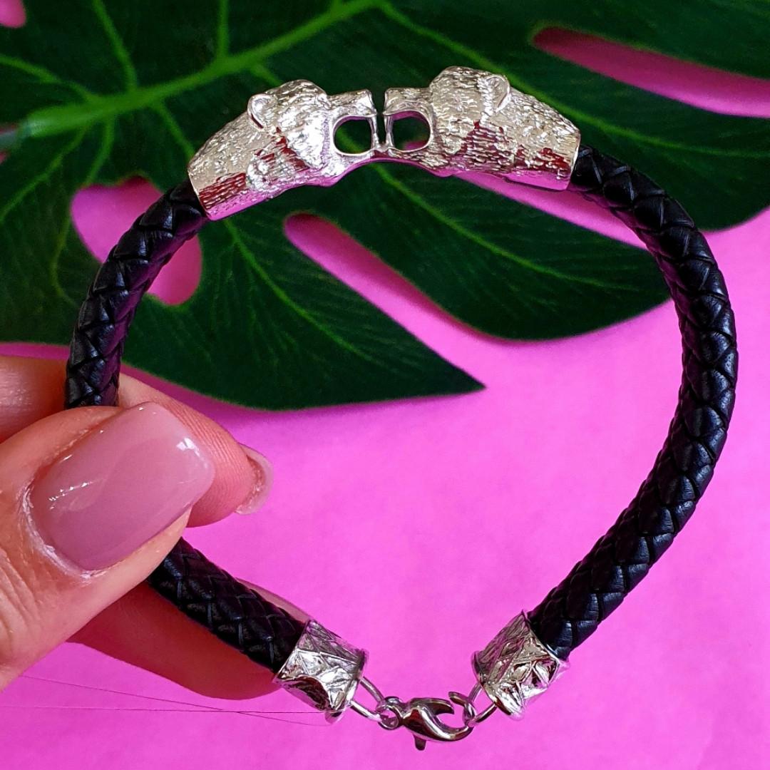 Мужской кожаный браслет с серебром Медведи - Стильный мужской серебряный браслет