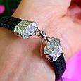 Мужской кожаный браслет с серебром Медведи - Стильный мужской серебряный браслет, фото 8