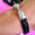 Мужской кожаный браслет с серебром Медведи - Стильный мужской серебряный браслет, фото 7