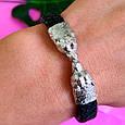 Мужской кожаный браслет с серебром Медведи - Стильный мужской серебряный браслет, фото 6