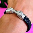 Мужской кожаный браслет с серебром Медведи - Стильный мужской серебряный браслет, фото 3
