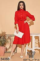 Яркое красное платье батал с поясом на талии и воротником стоечка с 48 по 58 размер, фото 1