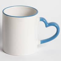 Кружка для сублимации белая цветной ободок и ручка Love (голубой)
