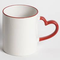 Кружка для сублимации белая цветной ободок и ручка Love (красный)