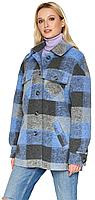 Женское демисезонное пальто NIO Collection Сабина Электрик, шерстяное пальто в клетку