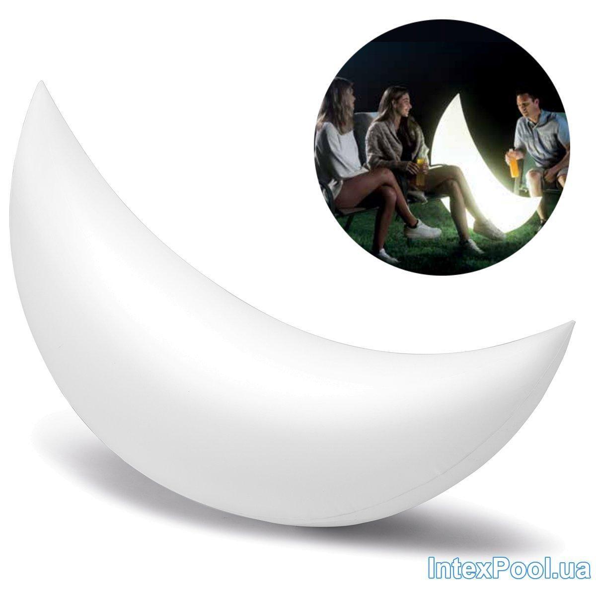 Светодиодная декоративная подсветка, фонарь Intex 68693 «Полумесяц» надувной, плавающий. Работает от аккумулятора.