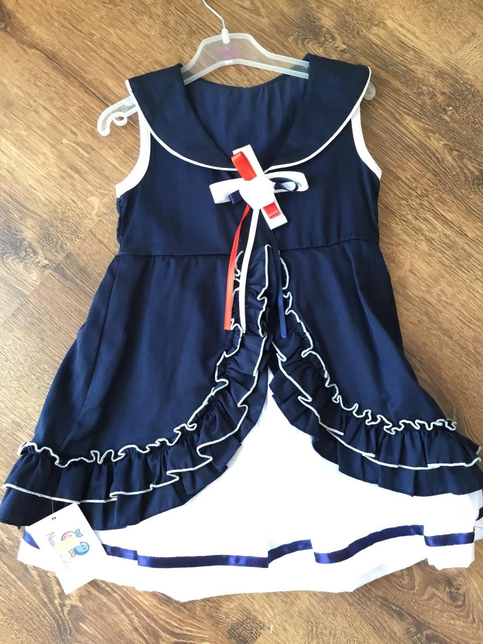 Летнее платье для девочки в синем цвете