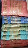 Полотенца банные махра с узором (8 шт)