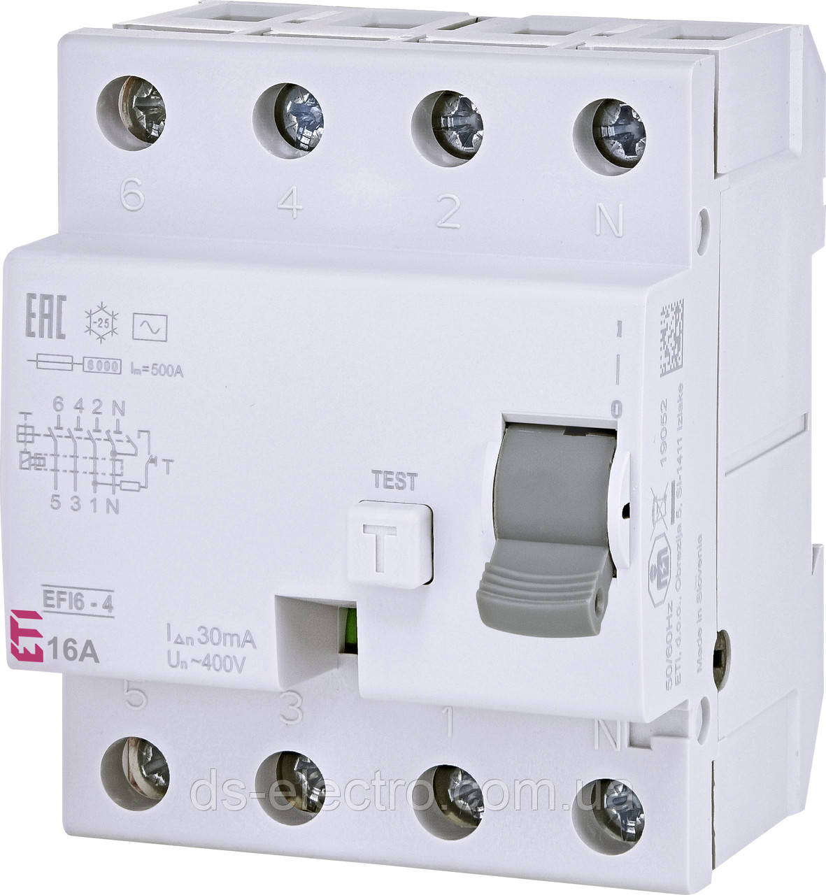 Реле дифференциальное (УЗО) EFI6-4 30mA тип AC (6kA)