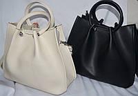 Женские стильные сумки из кожзама с круглыми ручками 32*26 см (черная и молочная)