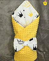 Конверт для выписки из роддома и прогулки ярко желтый ( для девочки)