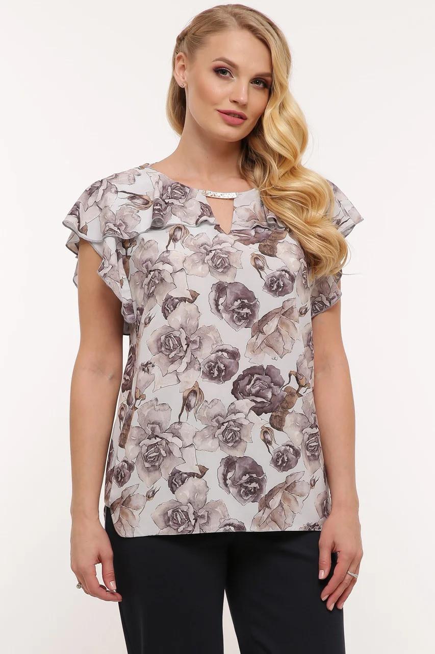 Воздушная летняя женская блузка plus size, 52-58 размер