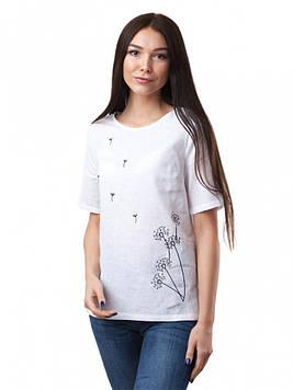 Лляна біла блуза з вишивкою (розміри XS-3XL)