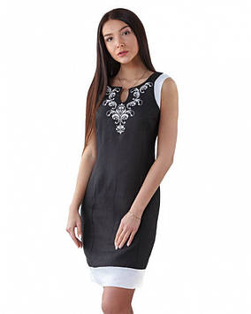 Літній вишита сукня льняна (розміри XS-XL в кольорах)