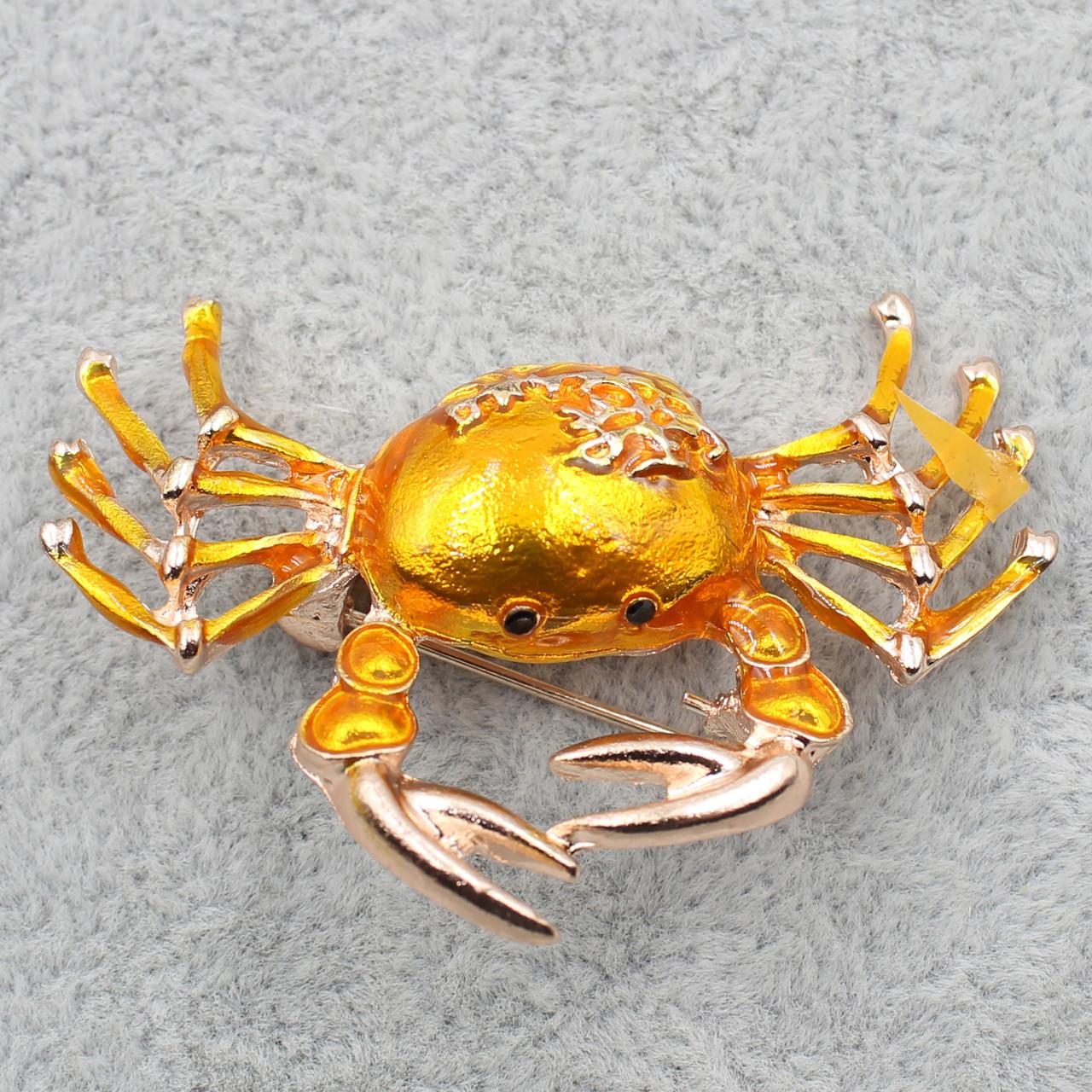 Брошь Крабик цветная эмаль 35х50 мм
