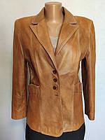 Куртка женская кожаная коричневая пиджак Taifun (Размер 48, M)