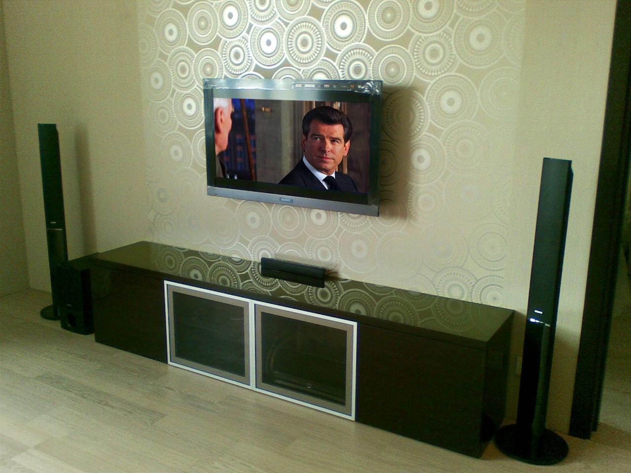 """Установка телевизора на стену 40-48"""" (стационарное крепление, гипсокартон/пеноблок)"""