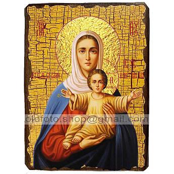 Аз Есмь с Вами и Никтоже на Вы Икона Пресвятой Богородицы ,икона на дереве 130х170 мм