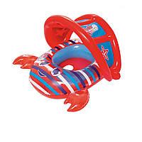 Надувная лодочка Bestway 34109 «Крабик», с трусиками, навесом, 86 х 66 см, красный