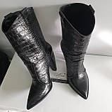 Женские  ботинки казачки  из кожи с тиснением крокодил, фото 2