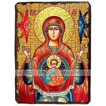 Знамение Икона Пресвятой Богородицы ,икона на дереве 130х170 мм
