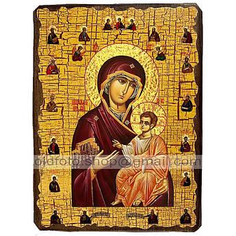 Иверская Икона Пресвятой Богородицы с предстоящими ,икона на дереве 130х170 мм