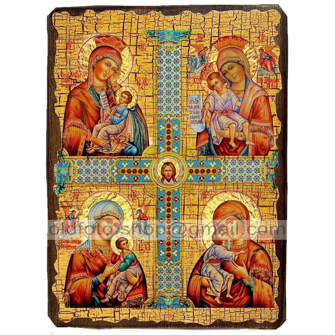 Четырехчастная икона Божией Матери (130х170мм)