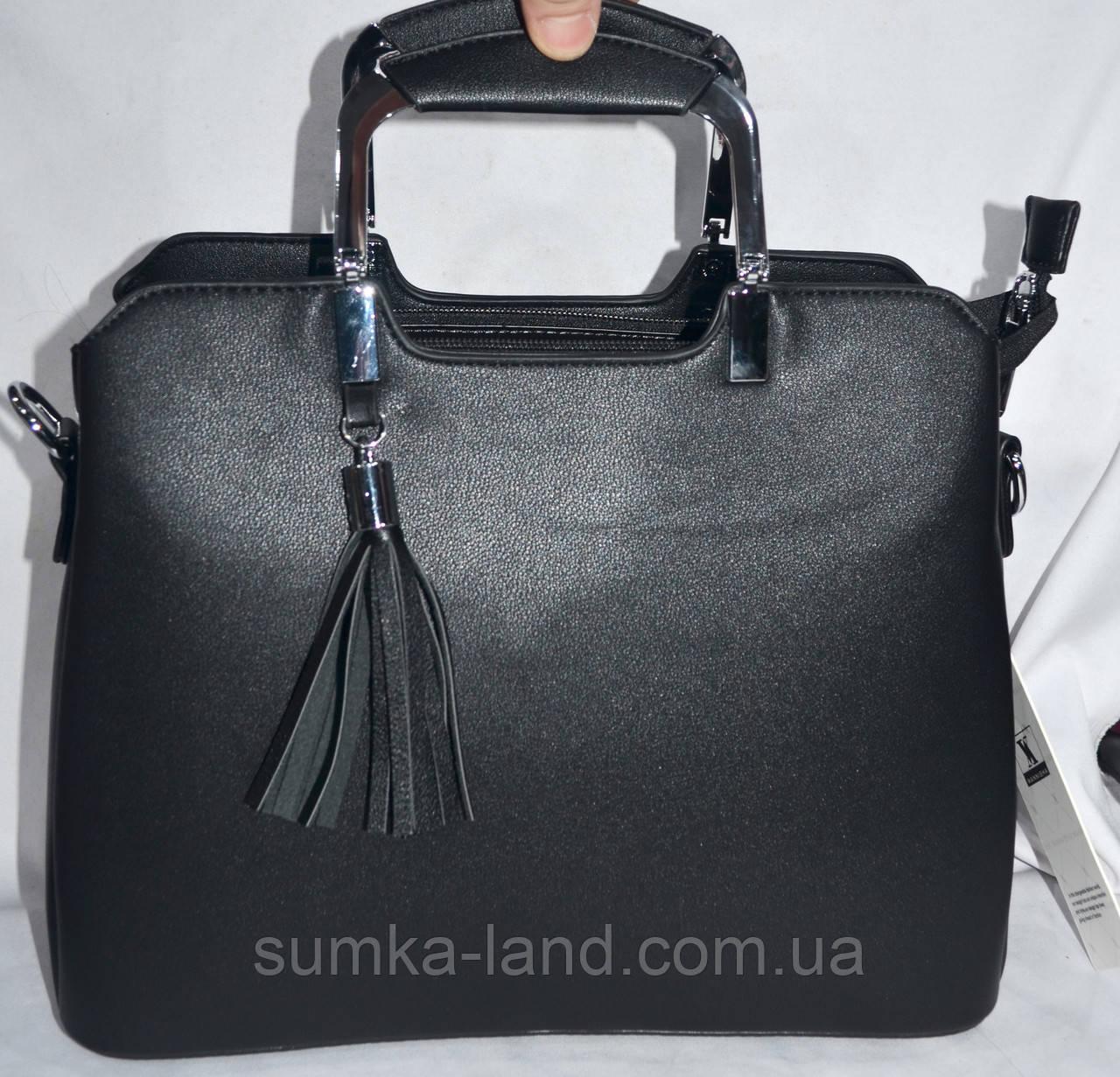 Женская черная сумка Премиум класса из искусственной кожи на 3 отделения с металлическими ручками  31*24 см