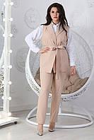 Женский костюм двойка, есть большие размеры. арт 610, цвет нюдовый беж / мокко