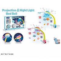Детский музыкальный мобиль на кроватку, с проектором на пульте управления Kissbaby Яркие птички