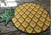 Безворсовый круглый коврик для дома Ананас 3D диаметром 80см