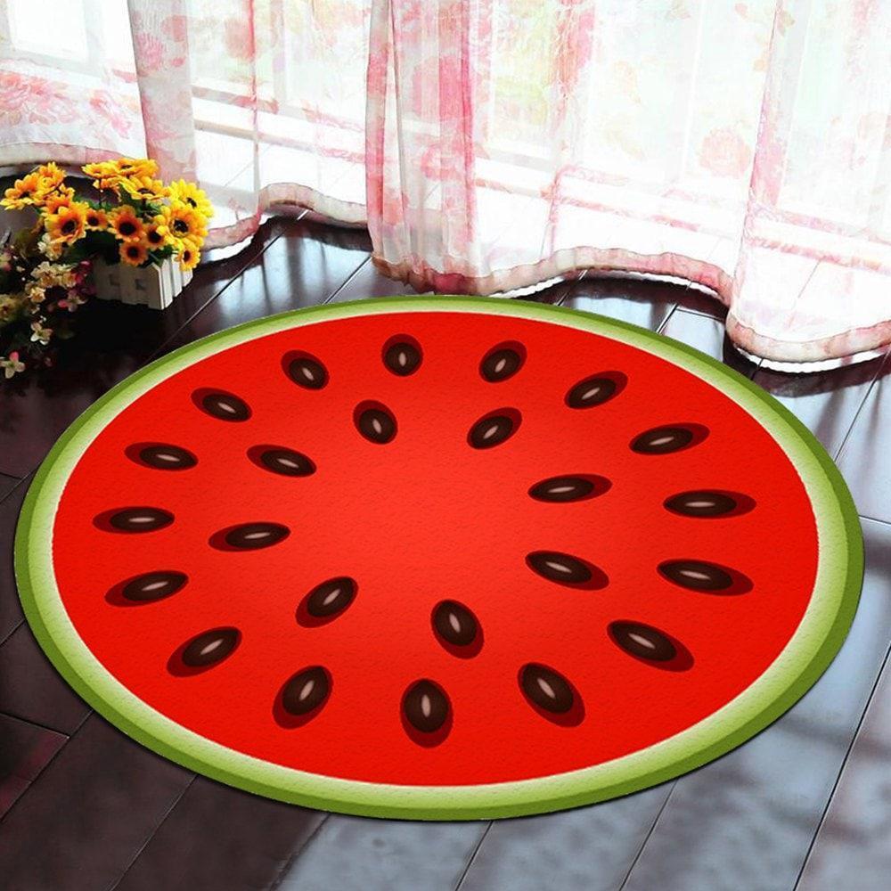 Безворсовый круглый коврик для дома Арбуз 3D диаметром 80см