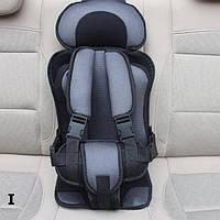 Детское баскаркасное сидение в авто (серое с черным)