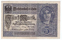 Банкнота Германии 20 марок 1917 г VF