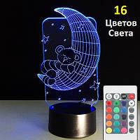 1 Светильник -16 цветов света! Светильник детский настольный Мишка на луне, Светильник 3D
