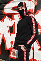 Свитшот утеплённый чёрный с красно-белыми лампасами Карра