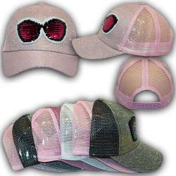 ОПТ Бейсболки с сеткой и ниткой люрекс, пайетки для девочки, 54р. (5шт/упаковка)