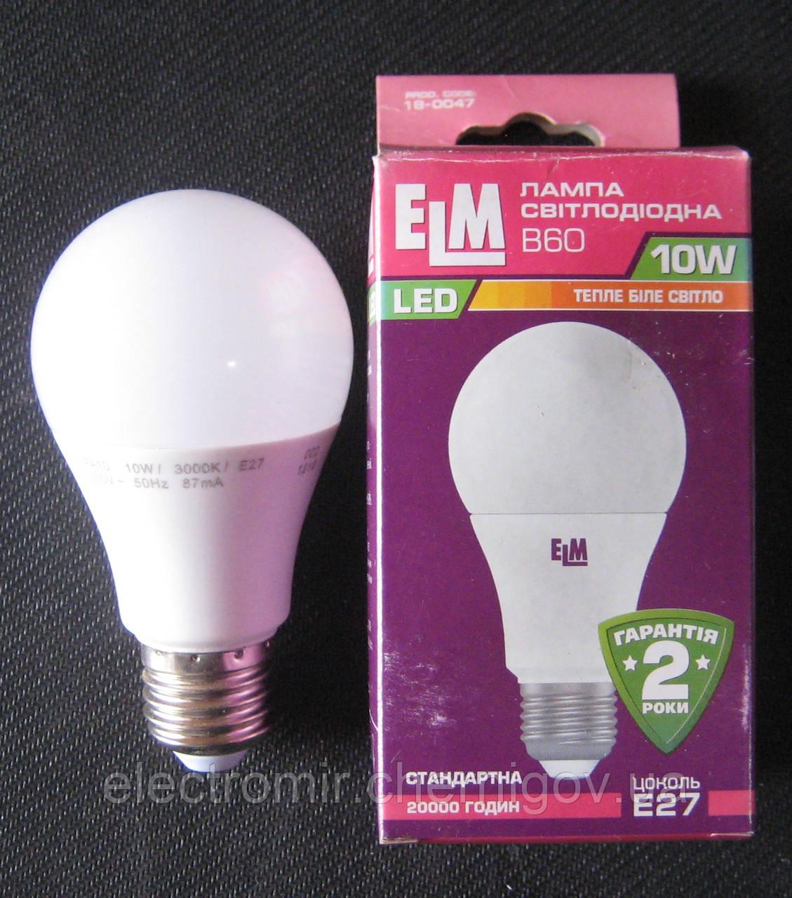 Лампа светодиодная ELM 10W E27 3000K B60 (сфера стандарт)