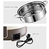 Мини электрокастрюля сковорода студенческая - командоровачная пароварка антипригарное покрытие, фото 7