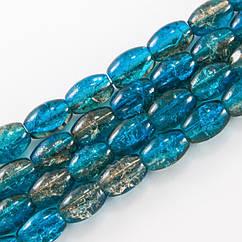 """Бусины """"Битое Стекло"""" Двухцветные, Овальные, Цвет: Сине-коричневый A78, Размер: 11х8мм, Отверстие 1.5мм, около"""