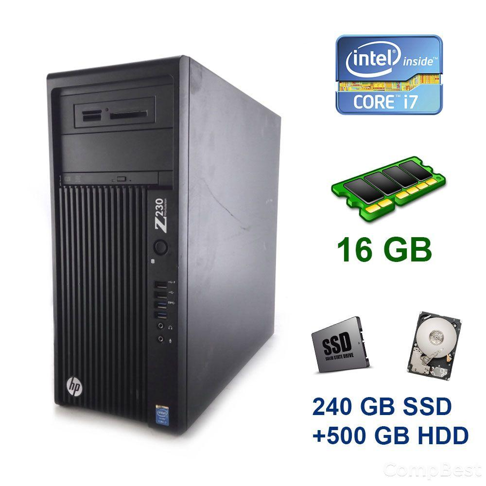 HP Z230 Tower / Intel Core i7-4770 (4 (8) ядра по 3.4 - 3.9 GHz) / 16 GB DDR3 / 240 GB SSD+500 GB HDD