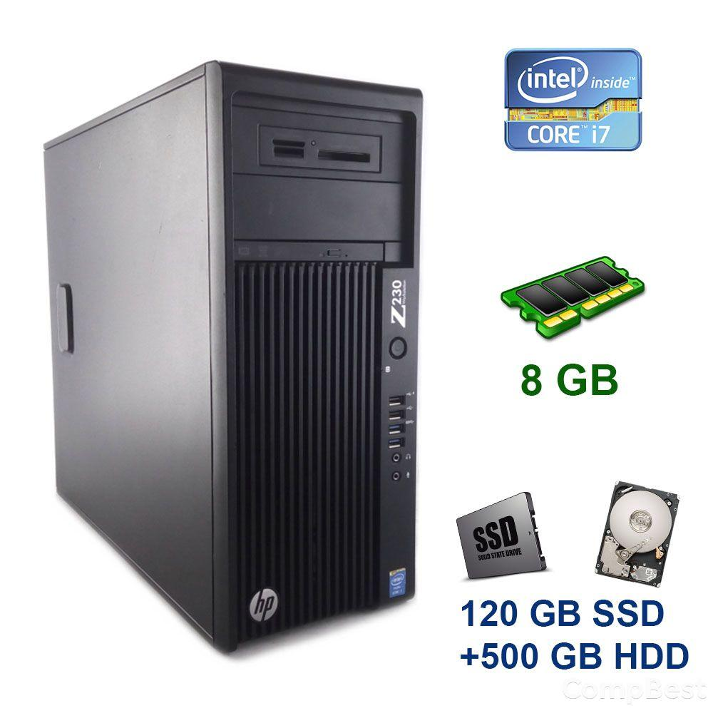 HP Z230 Tower / Intel Core i7-4770 (4 (8) ядра по 3.4 - 3.9 GHz) / 8 GB DDR3 / 120 GB SSD+500 GB HDD / nVidia GeForce GTX 1060, 3 GB GDDR5, 192-bit