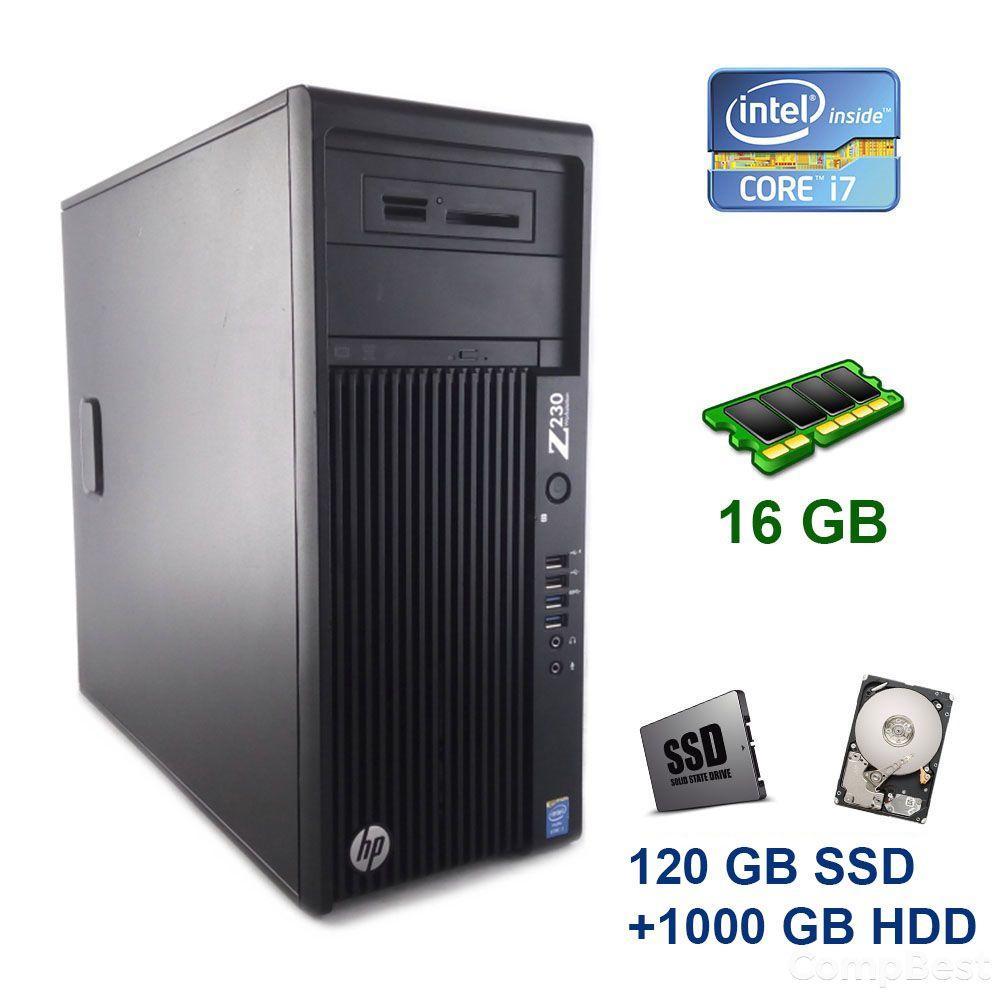 HP Z230 Tower / Intel Core i7-4770 (4 (8) ядра по 3.4 - 3.9 GHz) / 16 GB DDR3 / 120 GB SSD+1000 GB HDD / nVidia Quadro K2000, 2 GB GDDR5, 128-bit