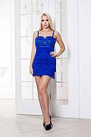 Модное платье с кружевом и бахромой
