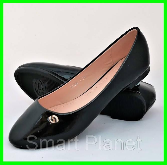 Женские Балетки Чёрные Мокасины Туфли (размеры: 36)