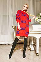 Вязаное платье-свитшот с принтом Gucci