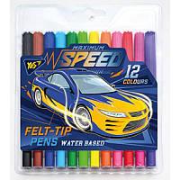 Фломастеры YES Speed car, 12 цв., для мальчиков