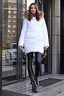 Удлиненная теплая куртка с натуральным мехом