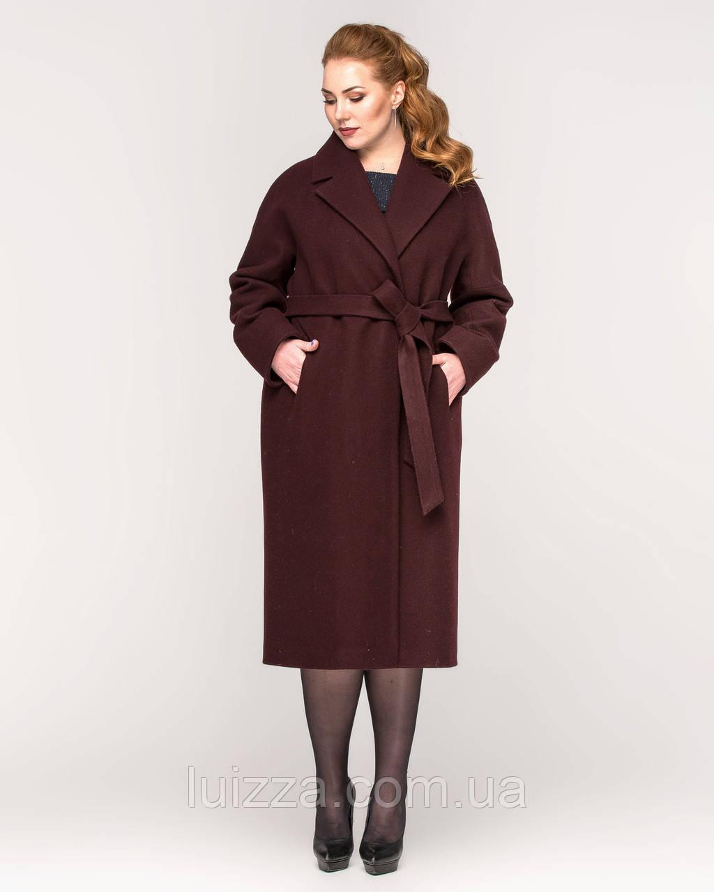 Пальто со спущенными рукавами 44-56р вино